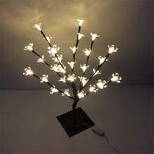 Pure White 47 cm Height Holiday Cherry Flower tree light  32 LED Peach Flower Tree Light standing  tree light wedding decoration