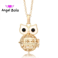 Pryme Angel Bola 10PCS/Wholesale Hot Selling 22.5mm Owl Shape Cage Necklaces Pendants Sound Angel Music Ball DIY Jewelry L025(China)