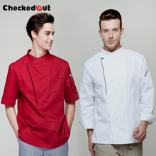 Hot checkedout chef jacket cook coat restaurant  kitchen chef uniform comfortable material working clothes