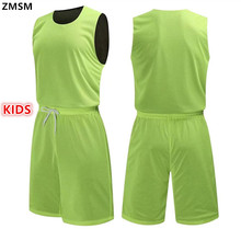 ZMSM 2017 Kids Reversible Basketball Uniforms kits Sports clothes Double-side basketball jerseys Customized Training suits A1506(China)
