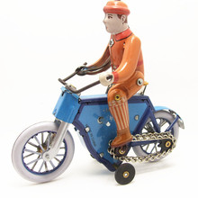 Antique Style Tin Toys Wind Up Toys Robots iron Metal Models for Children/Adult Home Decoration Metal Craft MS433 riding bike(China)