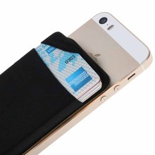 New Elastic Lycra Cell Phone Wallet Case Credit ID Card Holder Phone Pocket Stick On 3M Adhesive(China)
