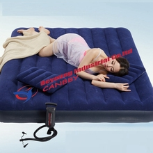 intex 68765 queen size inflatable mattress air bed with hand pump and 2 inflatable pillow