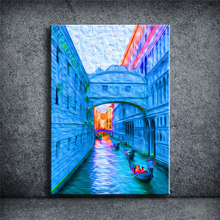 Oil painting The  Sunset Art Picture Home decoration Modern Canvas Printed Living Room Printed Unframed Italy Venice YOQB022