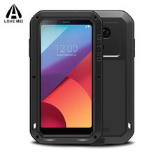 Love mei Aluminum Metal Armor For LG G6 Case Shockproof Silicone Cover Full Body Gorilla Glass Protective For LG G6 Phone Case(China)