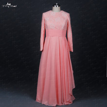 TE006 O-Neck Pink Long Sleeve Plus Size Muslim Evening Dress(China)