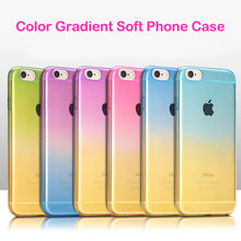 Nice Color Gradient Soft TPU Back Phone Case for Apple iPhone 6 6S 7 Plus 5 5S SE 4 4S Colorful Slim Transparent Shell Cover
