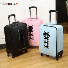 New Luggage bag ,Women Suitcase,Fashion PU Travel Box,Rolling Carry On,Trolley Hardcase Case with ,Gift for Women(China)