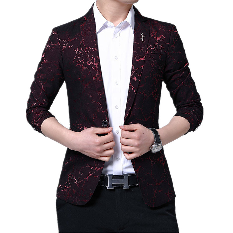 Mens Fashion Dance Blazer Masculino Coats Male Pattern Business affairs Wedding Stage Long sleeve Suit Jackets Slim coat M-5XL