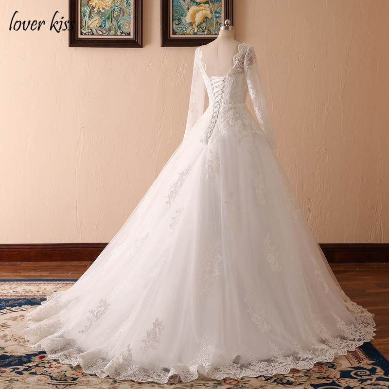 Lover Kiss Vestido De Noiva Custom Sheer Tulle Long Sleeve Wedding Dress Corset Back Lace Ball Gown Bridal Gowns For Weddings 5