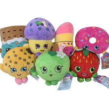 7pcs/lot 17-25cm Kawaii Fruit Apple Cookies Strawberry Donuts Lipstick Chocolate Muffin Stuffed Plush Toys Doll for Girls Gifts(China)