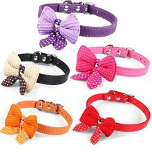 Bowknot Adjustable PU Leather Dog Puppy Pet Cat Collars Necklace Neck Lace 6 Colors Chihuahua Poodle Yorkie Pomeranian Shih Tzu