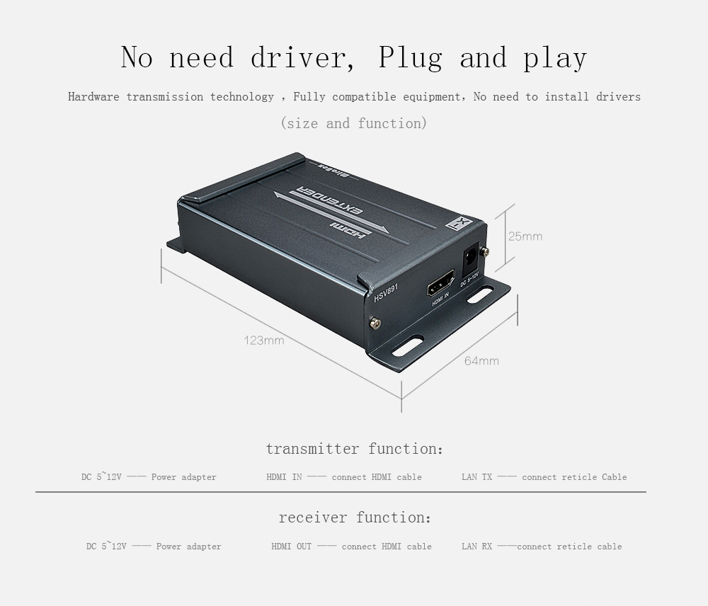 HSV891W 150m Wireless HDMI Extender 5.8GHz 1080P HDMI Wireless Transmitter and Receiver with Audio Extractor for HDTV STB DVD (4)