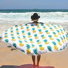 Round  Mandala Tapestry Outdoor Beach Towel Picnic Blanket Bohemian Pineapple Wink Gal Hippie Towels Beach Yoga Mat