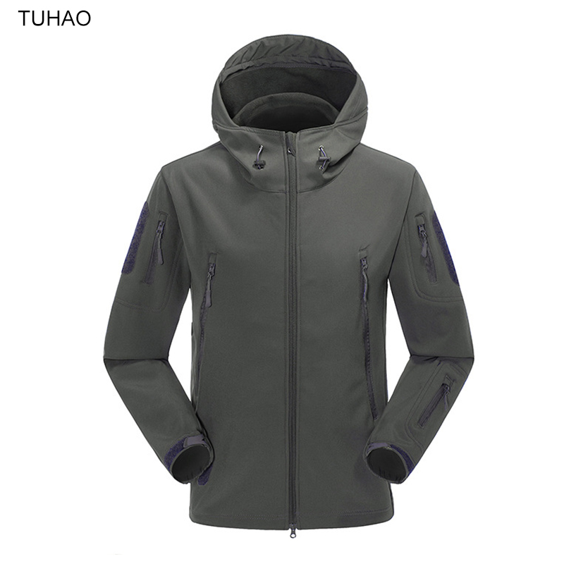 Outdoor Sport Hiking Hunting Fishing Jacket Breathable Waterproof Hooded Softshell Jackets Men Warm Fleece Military Coats TJ3009(China (Mainland))