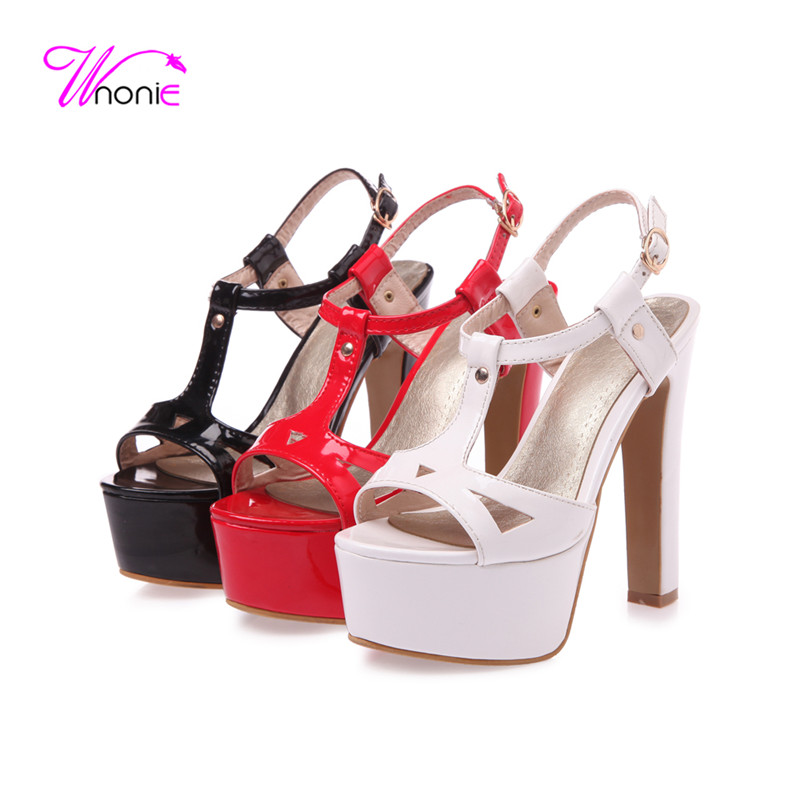 2017 New Fashion Women T-strap Sandals Thick High Heel Platform Buckle-strap Patent Leather Party Dress Cool Summer Woman Shoes<br><br>Aliexpress