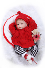 "22"" Lifelike Reborn Baby Alive Soft Silicone Girl Dolls Red Crochet Cloak Kits Interactive Toys(China)"
