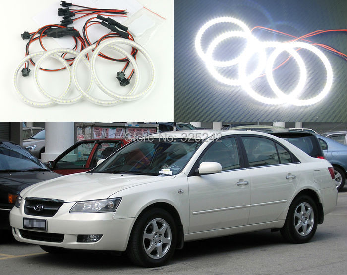 For Hyundai Sonata 5 generation (NF) 2006-2010 Excellent angel eyes Ultrabright illumination smd led Angel Eyes Halo Ring kit<br><br>Aliexpress