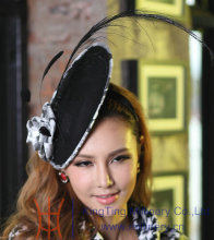 Free Shipping Fashion Women Fascinator Hat  Hair Accessories Feather Fascinator Black Feather Ladies' Hair Accessorie Black Rose