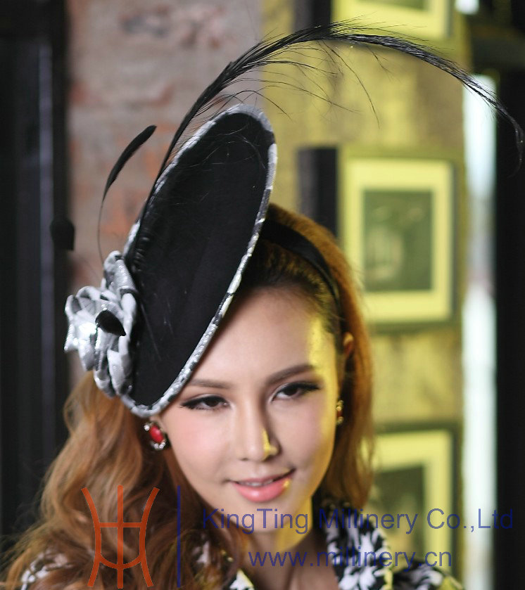 Free Shipping Fashion Women Fascinator Hat  Hair Accessories Feather Fascinator Black Feather Ladies Hair Accessorie Black Rose<br>