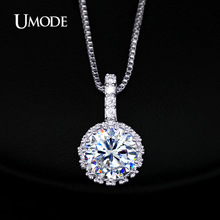 UMODE Multi Prongs Synthetic Cubic Zirconia Necklaces Heart and Arrows CZ Pendant Necklace with 8mm 2ct Cubic Zirconia UN0060