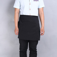 Universal Unisex Women Men Kitchen Cooking Waist Apron Adult Black Short Apron Waiter Apron with Double Pockets