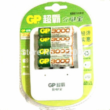 ( 4Pcs / Set ) GP AA 3000mAh 1.2V Ni-MH Rechareable Battery + 1pcs original GP charger Free Shipping(China)
