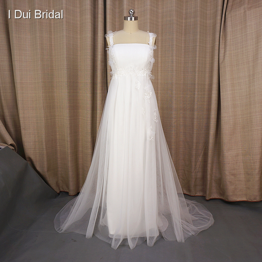 Empire Wedding Dresses Romantic Tulle Lace A line Suit for Pregnant Woman Factory Custom Made Real Photo