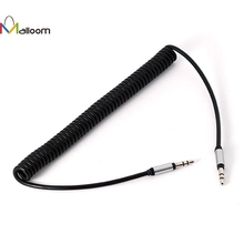 Malloom 2017 Wholesale Price  3.5 mm Coiled Stereo Audio Cable Car Auxiliary Audio Cable Male To Male AUX Extension Cable#25