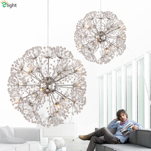 Nordic Design Plate Metal Dandelion Chrome Led Pendant Light Indoor Fixture G4 Suspension Light Modern Lustre Luminaire Lamp