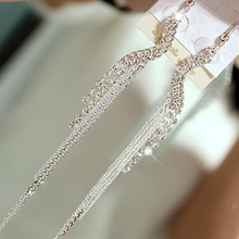 Women Rhinestone S-shape Tassels Dangle Linear Cocktail Chain Earrings for Party C77Q(China)
