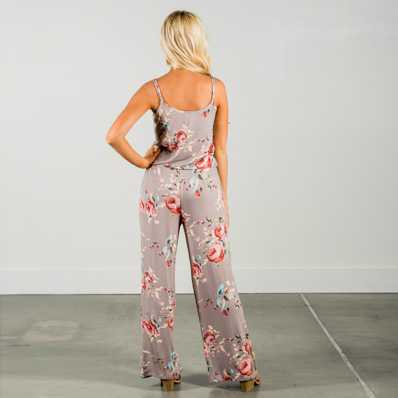 Spaghetti Strap Jumpsuit Women 2018 Summer Long Pants Floral Print Rompers Beach Casual Jumpsuits Sleeveless Sashes Playsuits 31