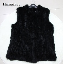 Buy Harppihop Fur 2017 Lady Fashion Genuine Knitting Rabbit Fur Vest Waistcoat Women natural Fur vest Gilet Outerwear vest for $47.20 in AliExpress store