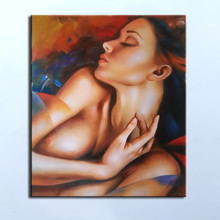 Handpainted Modern Abstract Oil paintings on Canvas art  red girl oil painting Nude paintings for wall decoration Prom gift