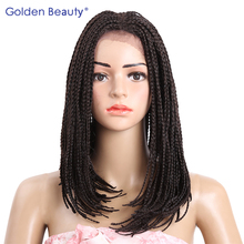 Golden Beauty 16inch Bob Wig with Baby Hair Synthetic Box Braided Lace Front Wigs for Black Women(China)