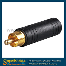 Superbat RF Connector High Quality RCA Male Plug to 6.5mm Stereo Female Jack Audio Video Converter Adapter
