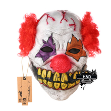 H&D Red Nose Clown Mask Circus Scary Killer Halloween Horror Latex Full Head Fancy Dress Mask