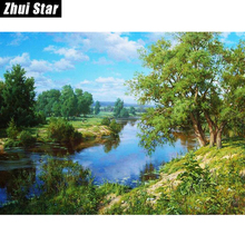 "5D DIY Diamond Painting ""Landscape Trees"" Embroidery Full Square Diamond Cross Stitch Rhinestone Mosaic Painting Decor Gift zx"