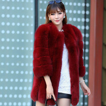 DAOKFPO Winter Coat Women High-grade Elegant Women Solid Coat Manteau Femme Artificial Fur Coat Female Outerwear WT-012