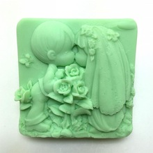 New Wedding Soap Silicone Mold Boy Girl Dress Couple Cake Decorating Molds Kiss Mould Rose Kitchen Baking accessory Tools H524(China)