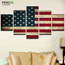 Modern Home Wall Art Decor Room Canvas HD Print Painting Modular Picture Frame 5 Panel Retro Photo American Flag Poster PENGDA(China)
