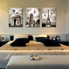 Italy Paris Vintage Style Painting Canvas Prints 3 Panel Europe Landscape Decorative Picture For Wall Decoration Large No Frame(China)
