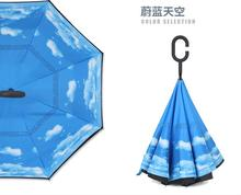 creative double business affairs long straight shank folding Auto reverse umbrella adults long-handle Prevent bask in umberlla