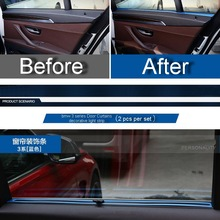 2 PCS Car DIY Three Color Stainless Steel Door Curtains Light Strip Cover Case stickers for Bmw 3 Series 320li Part Accessories