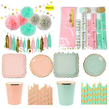 Coral Pink Mint and Gold Party Decoration Tableware Paper Plates Cups Tissue Paper Pom Pom Tassel Garland Circle Paper Garland