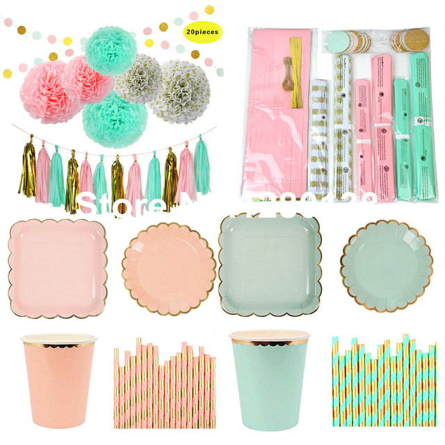 C Pink Mint And Gold Party Decoration Tableware Paper Plates Cups Tissue Pom Tel