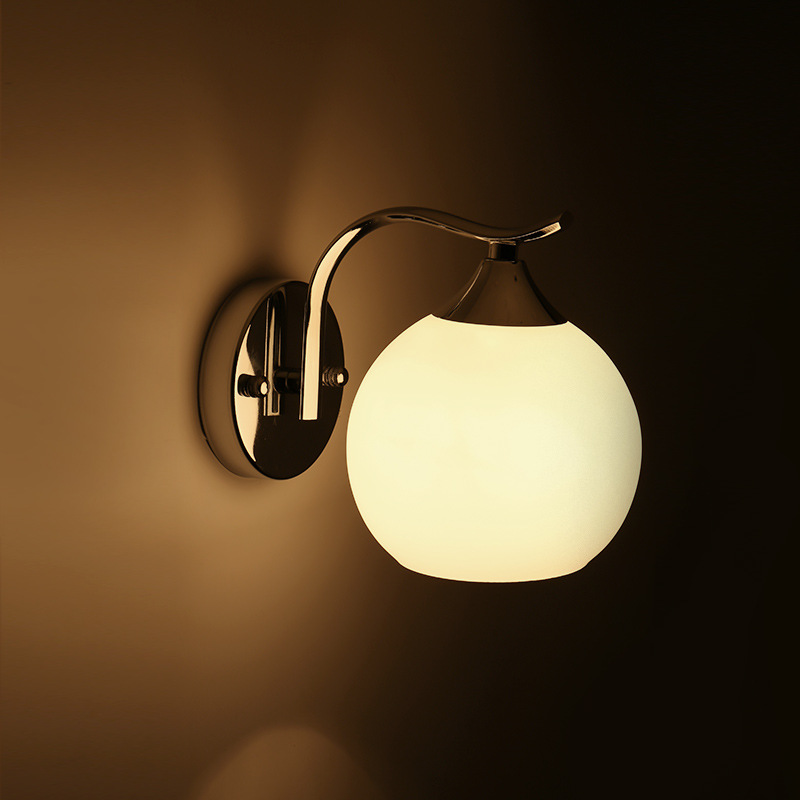 ECOBRT Country style Glass Bedside wall lamps bedroom stainless steel wall lamp lights with E27 Bulb Socket<br><br>Aliexpress