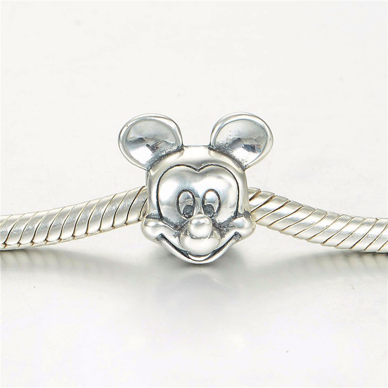2017 New Free Shipping 1Pc Silver Bead Charm European Silver With Mickey Cartoon Charm Pendant Bead Fit Pandora Bracelet Gifts (1 (5)