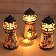 Hot-selling Handmade Mediterranean-style Lighthouse Wrought Iron Holiday Candlestick Candle Holder Home Decor VF064 P18 0.5