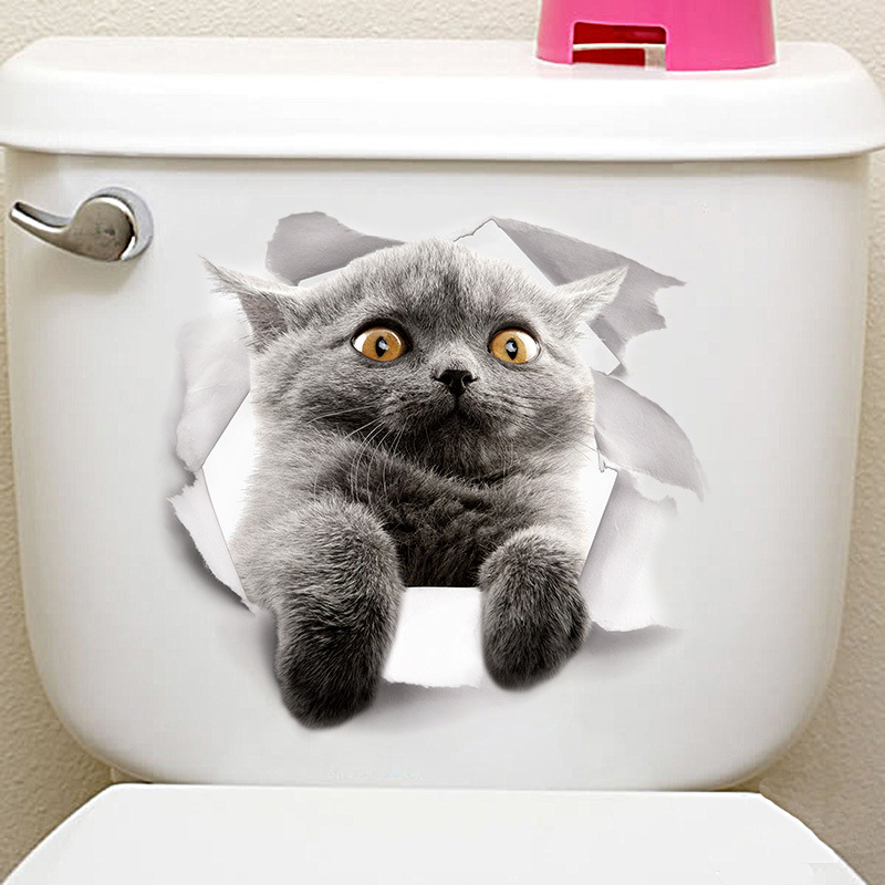 Cartoon animal 3d toilet stickers on the toilet seat cute cats PVC wall sticker bathroom refrigerator door decor stickers decals (24)